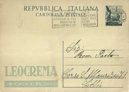 """2678 """" QUADRIGA-FRANCOBOLLO QUADRIGA ROMANA-PUBBLICITA' LEOCREMA-1953 """" CARTOLINA.POST.ORIG.SPEDITA - 6. 1946-.. Repubblica"""