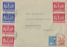 Gemeina. Brief Zehnfach Mif Minr.950,951,3x 969,2x 970 Egenhofen 22.6.48 - Gemeinschaftsausgaben