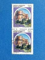 1981 ITALIA FRANCOBOLLI COPPIA CASTELLI USATI STAMPS USED - 70 LIRE CASTELLO ARAGONESE REGGIO CALABRIA - 6. 1946-.. Repubblica