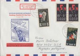 Saar Erstflug Hamburg-Frankfurt-New York Brief Mif Minr.357,359,2x 360 Dudweiler 7.6.55 - 1947-56 Allierte Besetzung