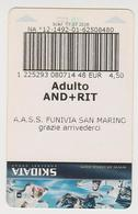 1338(4) SAN MARINO Ticket Funivia / Teleférico / Télépherique / Cableway / Seilbahn (2013). - Otros