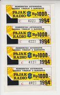 Indonesië Fiskale Zegels: Radiotaks 1994 Strip Van 4 Stuks - Indonesia