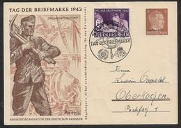 DR - 1942 - 3 Pfg GZ Tag Der Briefmarke 1942  - OSTLAND überdruck. STUTTGART Sonderstpl. - Day Of The Stamp - Allemagne