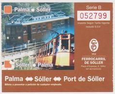 1338(5) Ticket FFCC / Railway / Chemin De Fer / Ferrovia PALMA-SÓLLER, Mallorca (España / Spain / Espagne / Spagna). - Trenes