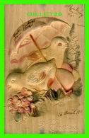 PÂQUES - EASTER GREETINGS - CARTE EN BOIS - CIRCULÉE EN 1911 - POUSSINS & PARAPLUIE - - Pâques