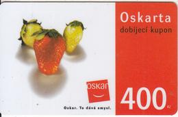 CZECH REPUBLIC - Strawberries, Oskar Prepaid Card 400 Kc(thin Plastic), Used - Czech Republic