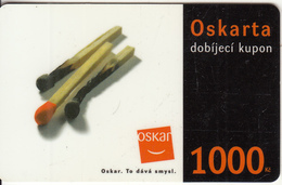 CZECH REPUBLIC - Μatches, Oskar Prepaid Card 1000 Kc(thick Plastic), Used - Czech Republic