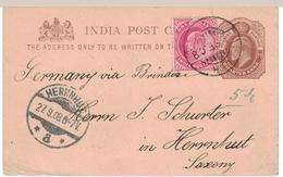 Br India King Edward, Postal Stationery, Leh Postmark, Inde Indien - 1882-1901 Empire