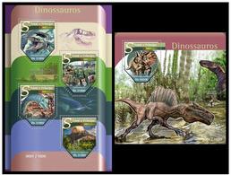 Sao Tome And Principe 2015 Fauna Dinosaurs Klb+s/s MNH - Postzegels