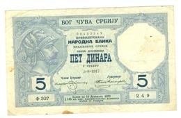 5 Dinara, 1917, Srbija, Serbia, 3=8=1917, 337, Pet Dinara, Cinq Dinars, Royaume De Serbie, Banque Nationale - Joegoslavië