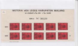 Indonesië Fiscale Zegels Blokje Van 10 Stuks(leges= Zegelrecht=documentary) - Indonesia