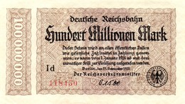 Notgeld Reichsbahn 100  Millionen Mark  Berlin - [ 3] 1918-1933 : Repubblica  Di Weimar