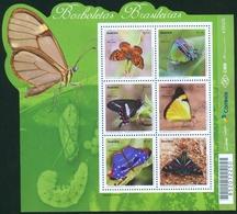 BRAZIL 2016  -   BRAZILIAN  BUTTERFLIES   MINISHEET  6 STAMPS.   - MINT - Unused Stamps