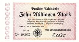 Notgeld Reichsbahn 10  Millionen Mark  Berlin - [ 3] 1918-1933 : Repubblica  Di Weimar