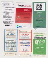 1338(7) ITALIA / ITALY / ITALIE. 6 Tickets / Billets / Biglietti / Billete: Venezia, Udine, Bergamo (used). - Billetes De Transporte