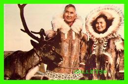 NORTHWEST TERRITORIES, QUEBEC - ESKIMO COUPLE WITH REINDEER -  THATCHER-WINGER-ASSOCIATES LTD - - Territoires Du Nord-Ouest