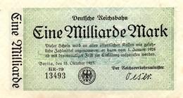 Notgeld Reichsbahn 1 Milliarde Mark  Berlin - [ 3] 1918-1933 : Repubblica  Di Weimar