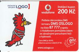 "CZECH REPUBLIC - Civil Association ""LOGO"", Vodafone Prepaid Card 200 Kc, Exp.date 22/01/14, Used - Czech Republic"