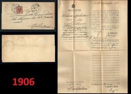 1906 - REGNO N. 69 - 2 Cent. - PIEGO LETTERA - Da Valle Di MADDALONI A Stazione RR Car. - Emigrazione - 1900-44 Vittorio Emanuele III