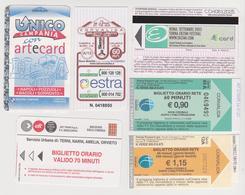 1338(8) ITALIA / ITALY / ITALIE. 6 Tickets / Billets / Biglietti: Campania (Napoli), Siena, Roma. Trieste, Umbria. - Titres De Transport