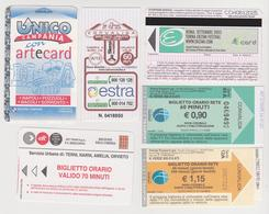 1338(8) ITALIA / ITALY / ITALIE. 6 Tickets / Billets / Biglietti: Campania (Napoli), Siena, Roma. Trieste, Umbria. - Billetes De Transporte