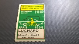 ERINNOFILI VIGNETTE CINDERELLA - PARIGI 1958 AUTOMOBILE CICLO E MOTOCICLO - Erinnofilia