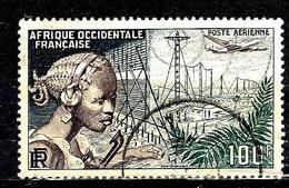 AFRIQUE OCCIDENTALE FRANÇAISE Aer19° 100f Bleu Foncé, Vert Et Brun-lilas Communication Et Flore  (10% De La Cote + 0,15) - Usati