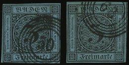 BADEN 8 O, 1858, 3 Kr. Schwarz Auf Blau, 2 Voll-überbreitrandige Kabinettwerte In Verschiedenen Farbnuancen - Baden