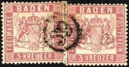 BADEN 16 O, 1862, 3 Kr. Rosakarmin, 2x Mit Einem Zentrischen Uhrradstempel 39, Pracht, R!, Signiert Fulpius Und H.K. - Baden