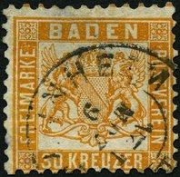 BADEN 22a O, 1862, 30 Kr. Lebhaftgelborange, Große Falzhelle Stelle, Feinst, Signiert H. Krause, Mi. 3200.- - Baden