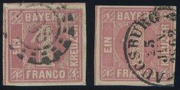 BAYERN 3I O, 1850, 1 Kr. Hellrot, Type I, Mit K2 Und Offenem MR-Stempel, 2 Prachtwerte - Bayern (Baviera)