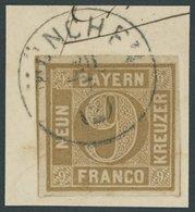BAYERN 11 BrfStk, 1862, 9 Kr. Ockerbraun, Kleiner K1 MÜNCHEN, Kabinettbriefstück, Gepr. Brettl - Bayern (Baviera)