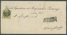BAYERN 12 BRIEF, 1865, 12 Kr. Dunkelgelbgrün Mit Offenem MR-Stempel 325 Als Einzelfrankatur Nach Würzburg, Prachtbrief,  - Bayern (Baviera)