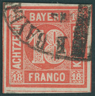 BAYERN 13a O, 1862, 18 Kr. Zinnoberrot, Allseits Riesenrandig Mit Bahnpost-Segmentstempel, Kabinett, Gepr. Pfenninger - Bayern (Baviera)