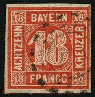 BAYERN 13a O, 1862, 18 Kr. Zinnoberrot, Pracht, Gepr. Pfenninger, Mi. 200.- - Bayern (Baviera)