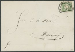 BAYERN 14b BRIEF, 1868, 1 Kr. Dunkelgrün Mit Segmentstempel SCHWEINFURT Auf Brief Nach Regensburg, Kabinett, Gepr. Pfenn - Bayern (Baviera)