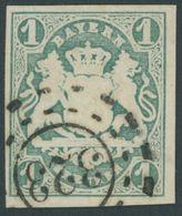 1867, 1 Kr. Dunkelblaugrün, Offener MR-Stempel 323 (Mühldorf), Pracht -> Automatically Generated Translation: 1867, 1 Kr - Bayern (Baviera)