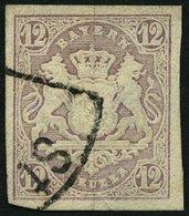 BAYERN 18 O, 1867, 12 Kr. Hellbraunviolett, Pracht, Mi. 120.- - Bayern (Baviera)