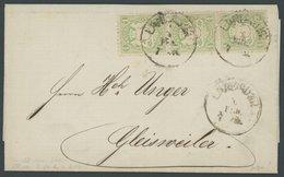BAYERN 22Xa BRIEF, 1874, 1 Kr. Hellgrün, Wz. Enge Rauten, Im Senkrechten Dreierstreifen Auf Brief Mit K1 LANDAU I.D.P. N - Bayern (Baviera)