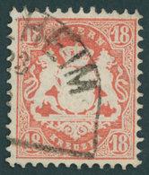 BAYERN 27Xb O, 1870, 18 Kr. Dunkelziegelrot, Wz. Enge Rauten, Kabinett, Gepr. Brettl, Mi. (240.-) - Bayern (Baviera)