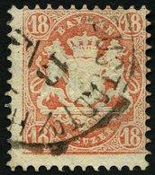 BAYERN 27Xb O, 1870, 18 Kr. Dunkelziegelrot, Wz. Enge Rauten, üblich Dezentriert, Pracht, Gepr. Bühler, Mi. 240.- - Bayern (Baviera)