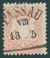 BAYERN 27Ya O, 1870, 18 Kr. Mattziegelrot, Wz. Weite Rauten, Zentrischer Segmentstempel PASSAU, Kabinett, Gepr. Bühler - Bayern (Baviera)