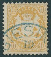 BAYERN 29Xb O, 1873, 10 Kr. Dunkelgelb, Wz. Enge Rauten, Seltener Blauer K1 GIESING, Kabinett, Gepr. Brettl, Mi. (500.-) - Bayern (Baviera)
