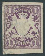 BAYERN 30b O, 1874, 1 M. Dunkelviolett, Riesenrandig, Kabinett, Gepr. Brettl, Mi. (250.-) - Bayern (Baviera)