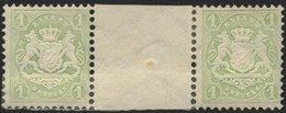 BAYERN 32cZW *, 1875, 1 Kr. Mattgrün Im Waagerechten Zwischenstegpaar, Falzreste, Feinst (angetrennt), Gepr. Pfenninger, - Bayern (Baviera)