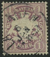 BAYERN 43 O, 1879, 1 M. Braunpurpur, Wz. 2, Pracht, Mi. 110.- - Bayern (Baviera)