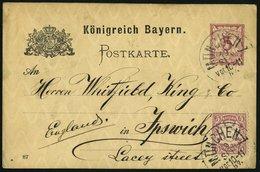 BAYERN 48 BRIEF, 1887, 5 Pf. Mittelgraupurpur Als Zusatzfrankatur Auf 5 Pf. Ganzsachenkarte (P 30), Prachtkarte Von MÜNC - Bayern (Baviera)