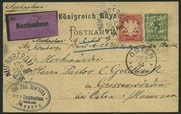 BAYERN 56By,P 38 BRIEF, 1894, 10 Pf. Karminrot, Als Zusatzfrankatur Auf 5 Pf. Ganzsachenkarte, Nachnahmekarte Von NÜRNBE - Bayern (Baviera)