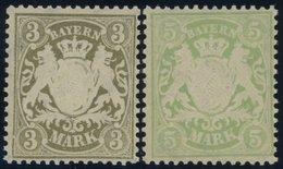 BAYERN 69/70x **, 1900, 3 Und 5 M, Mattorangeweißes Papier, Wz. 3, Postfrisch Pracht, Mi. 120.- - Bayern (Baviera)