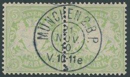 BAYERN 70x Paar O, 1900, 5 M. Gelbgrün, Wz. 3, Im Waagerechten Paar, Pracht - Bayern (Baviera)